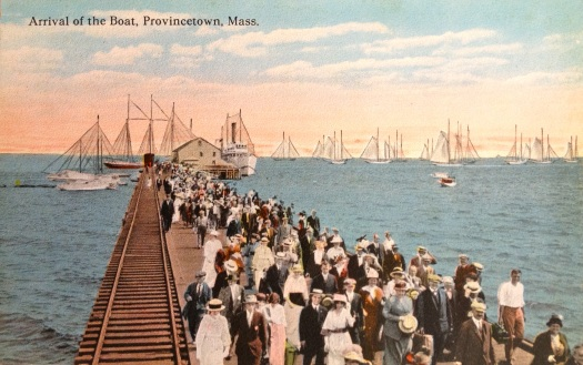 Arrival of Boston Boat to Provincetown's Railroad Wharf