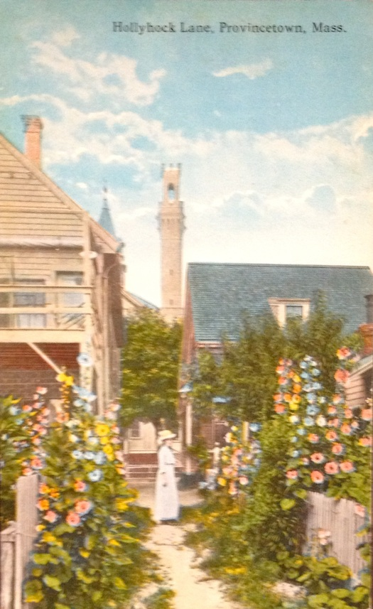 Holly Hock Lane with the Provincetown monument in the background.