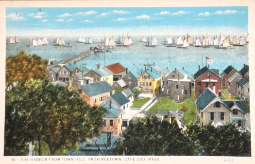 A view of Provincetown, Massachusetts harbor from Town Hill.