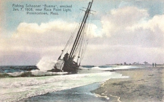 "Fishing Schooner ""Buema"" wrecked near Race Point Light in Provincetown, Cape Cod"